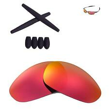 Walleva Fire Red lenses and Black w Ear socks T-shocks for Oakley Juliet