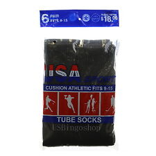 6 Pairs New Men's Cotton Athletic Sports Tube Socks 9-15 Black Made In USA