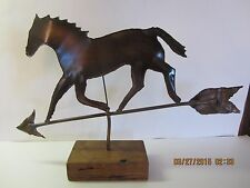 Vintage Copper Horse Sculpture Mounted On Wood Block-Weather Vane Inspired