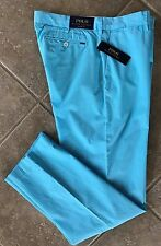 Polo Ralph Lauren Flat Front Chino Pants Mens 34 x 34 Hamm Blue Classic NWT