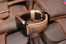 Rusty Brown Leather Watch Strap Band For Apple Watch 42mm Black Fixs Series 1 2