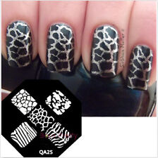 Nail Art Stamping Plates Image Stamp Template Zebra Leopard Pattern QA25