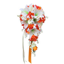 Cascade Bouquet: Orange and Ivory Rose, Calla Lily, and Lily Arrangement
