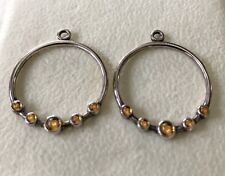 PANDORA .925 Sterling Silver Citrine CZ Circle Compose Earring Charms #290625CI