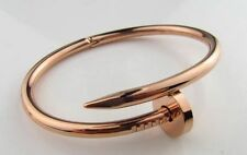 Elegant Rose Gold Plated Sterling Silver 925 Nail Cuff Bangle Statement Bracelet