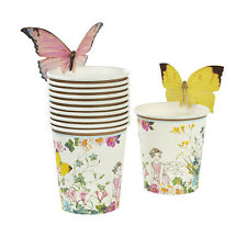 12 x Vintage Style Fairy Cups Afternoon Tea Party Pretty Cups w/ Butterfly