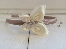 Champagne Satin Headband Alice Band Ivory Butterfly Bridesmaid Flower Girl