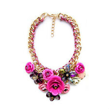 Fashion Gold Copper Chain Crystal Flower Big Statement Chunky Necklace Collar