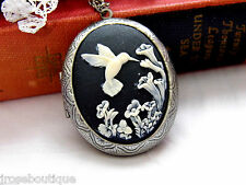#JRB91316 SILVER GOLD PHOTO PICTURE LOCKET HUMMINGBIRD CAMEO BLACK URN MEMORIAL