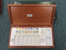 Winsor & Newton Artists' Watercolour Paints Half Pan Deluxe Wooden Box Gift Set