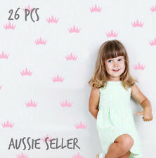 26pcs baby pink princess crown wall decal girls stickers nursery room decor kids