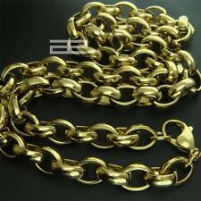 """14K 148CT Yellow Gold GF 23.5"""" Length 11mm W Men Solid Heavy Necklace Chain N207"""