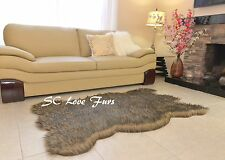 5' x 3' Black Tip Gray Coyote Plush Fur Rugs Bearskin Home Accents Rug Decor