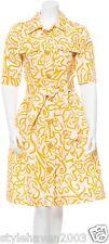 Yellow/White LightWeight-Wool Belted Trench Coat-Dress @ OSCAR de la RENTA Sz.6