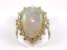 Fine Huge Pear Cut Fire Opal Cocktail Ring w/Diamond Halo 14k Yellow Gold 5.42Ct