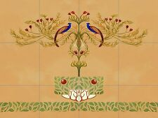 Peacock Tole Mural Kitchen Ceramic Tile Back Splash Ceramic Art Deco Nouveau