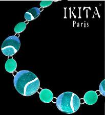 Luxus Statement-Kette Halskette IKITA Paris Kette Zebra Versilbert Grün-Türkis