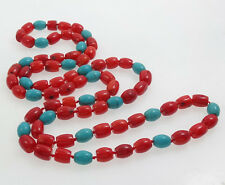 Stunning Natural Red coral and Turquoise Beaded Necklace 88cm