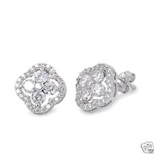 USA Seller Flower Stud Earrings Sterling Silver 925 Best Jewelry Clear CZ