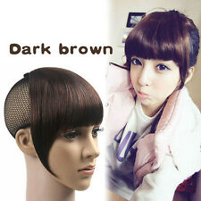 Charming Woman's Wig Clip On Bangs Fringe Dark Brown Clip Hair Extension Bangs