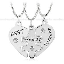 3Pcs Best Friends Forever Crystal Heart Friendship Pendant Choker Necklace Chain