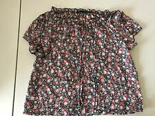 Women's Poetry Anthropologie Black and Floral Peasant Top, Size Small