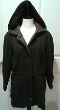 Avoca Ireland Irish Wool Jacket Green Hooded Drawstring Plaid Size L Large