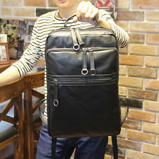 Black New Retro Men's PU Leather Backpack Messenger Bags Briefcase Laptop bags