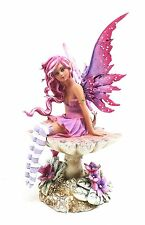 Magenta Sun Kissed Tan Faery Pink Fairy on Mushroom Statue Figurine Amy Brown
