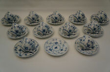 Set of 11 ROYAL COPENHAGEN- BLUE FLUTED PLAIN-TEACUP & SAUCER #79/ #76-79-315