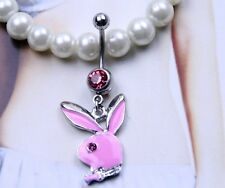 piercing nombril lapin ROSE playboy pendant strass 12mm sexy inversé lot