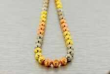 ".925 Silver Moon Cut 30"" CHAIN 5MM BEADED MENS TRI ROSE YELLOW WHITE BALL HIPHOP"