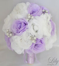17pcs Wedding Bridal Bouquet Set Silk Flower Decoration Package WHITE LAVENDER