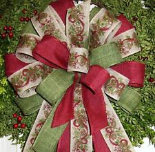 HANDMADE CHRISTMAS BOW WIRED RIBBON for HOLIDAY WREATH LANTERN GARLAND # 25