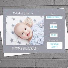 Foto Personalizzata Baby Boys stelle nascita annuncio Ringraziamenti x12