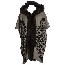 Plus taille lana laine abstract gris & noir bordure en fourrure à capuche gilet/wrap/manteau