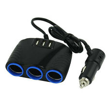 3 way Car Socket Cigarette Lighter Splitter 3 USB Power charger adapter 12V/ 24V