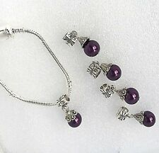 Easter Basket Special 925 Silver Bracelet with Aubergine Bead Charm (Sm) New