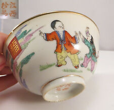 Antique Chinese Porcelain Bowl Famille Rose Fuku Mark Kung Fu Boys (1 of 4)