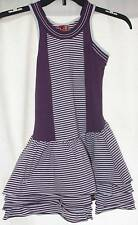 NEW No Added Sugar Hyde Park Sleeveless Bustle Dress Purple White Striped 5 6 Yr