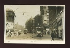 Yorkshire Yorks LEEDS Boar Lane Tram Goodsons & Boots c1940/50s? RP PPC