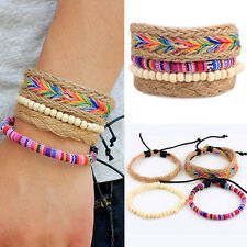 4Pcs/Set Unisex Ethnic Multilayer Adjustable Wooden Beads Rope Bracelet Bangle