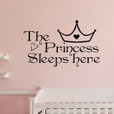 Creative The Princess Sleeps Here Art Quote Word Lettering Wall Sticker Decor