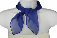 Women Fashion Neck Scarf Blue Royal Color Small Soft Fabric Square Pocket Sheer