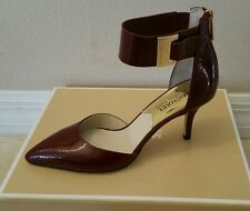 MICHAEL KORS SHOES HEEL SANDAL  GUILIANA MID ANKLE STRAP CLARET RED PATENT 6.5