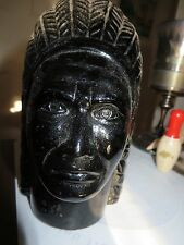 old vintage figural black glass Indian Chief head paperweight