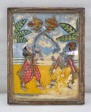 1900s Indian Antique Fine Water Color Hand Painting on Glass God Krishna & Radha