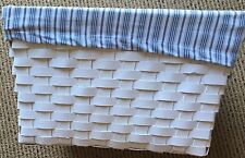 Lined White Woven Wicker Decor Baskets Blue & White Striped Fabric Large Target
