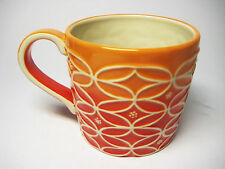 STARBUCKS 2009 HAND PAINTED RAISED EMBOSSED ORANGE RED WHITE COFFEE MUG CUP 14oz