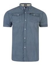 Firetrap Men's New Short Sleeve Casual Pattern Shirt White Grey Navy Blue